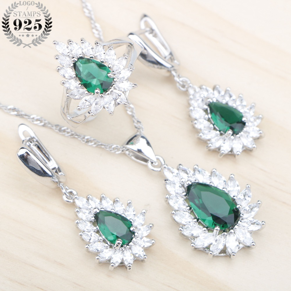 Silver 925 Wedding Jewelry Sets Green Zircon Stones Women Pendants & Necklaces Earrings Rings Valentine Jewelery Free Gift Box