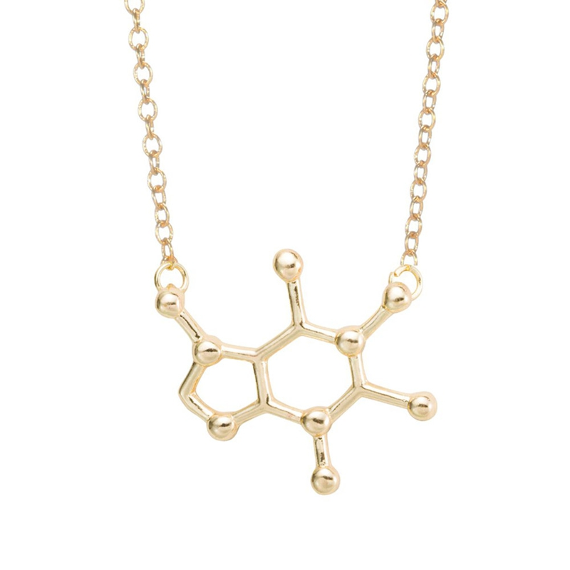 2016 New Design Fashion Women's Spring Style Caffeine Molecule Pendant Chemistry Structure Chain Choker Necklace XL137