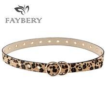 Luxury Leopard Pattern Women Belts for Women Metal Buckle Belt for Long Dress Double Golden Circles Hollow Out Female Belt недорого