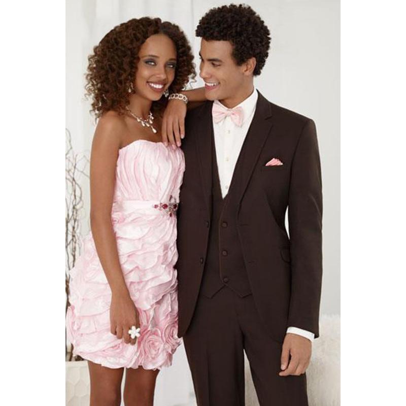 Custom Made Dark Brown Notch Lapel 2 Buttons Men Suits Bridegroom Best Man Wedding Suits Groom Wear(Jacket+Pants+Vest)G578