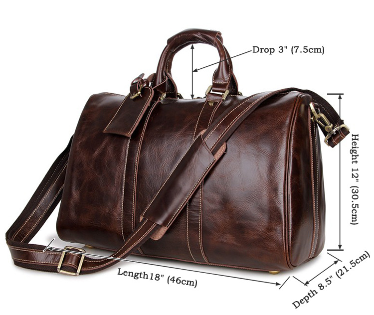 Bagaj ve Çantalar'ten Seyahat Çantaları'de Yüksek kalite vintage hakiki deri seyahat bagaj çantası deri seyahat çantası büyük kapasiteli bagaj çanta parlak haftasonu çanta'da  Grup 2