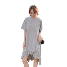 Cotton Pregnancy Clothes Half Sleeve Summer Dress Casual Korean Style Loose Maternity Dresses Solid Plus Size
