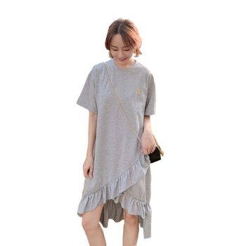 Cotton Pregnancy Clothes Half Sleeve Summer Dress Casual Pregnancy Clothes Korean Style Loose Maternity Dresses Solid Plus Size