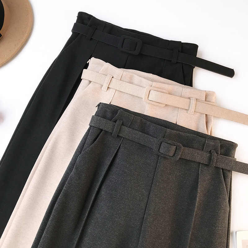 Pantalones elegantes de las mujeres de las fajas 2018 Otoño Invierno sólido de alta cintura bolsillos Harem pantalones Harajuku Fitness Office Pantalones Mujer