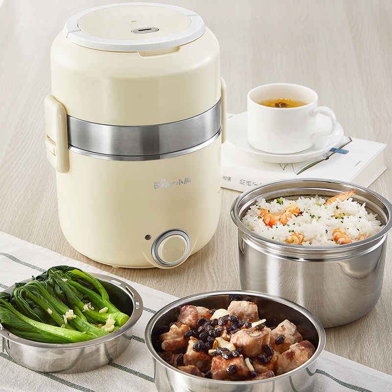 Bear 3 Layer Portable Electric Lunch Box 2 Gear High Quality Stainless Steel Mini Rice Cook Steamer Multi Cooker Box Container bear portable mini electric lunch box stainless steel preservation for home and office mini rice cooker box container