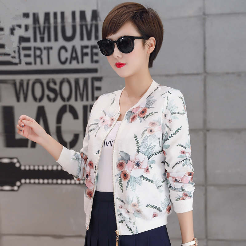 Women Basic Jackets New Fashion Slim Printing Short Cardigan Bomber Jacket Women Casual Baseball Uniform Women Jacket Coat C5337