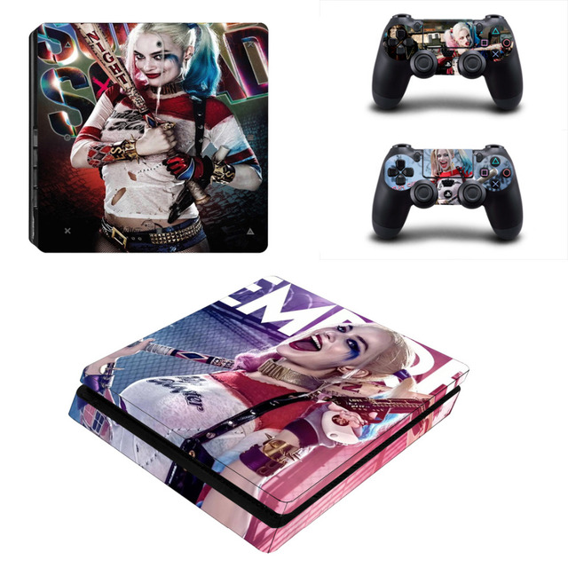 Suicide Squad Harley Quinn PS4 Slim Skin Sticker Decal for PlayStation 4 Console and 2 Controllers PS4 Slim Skins Sticker Vinyl