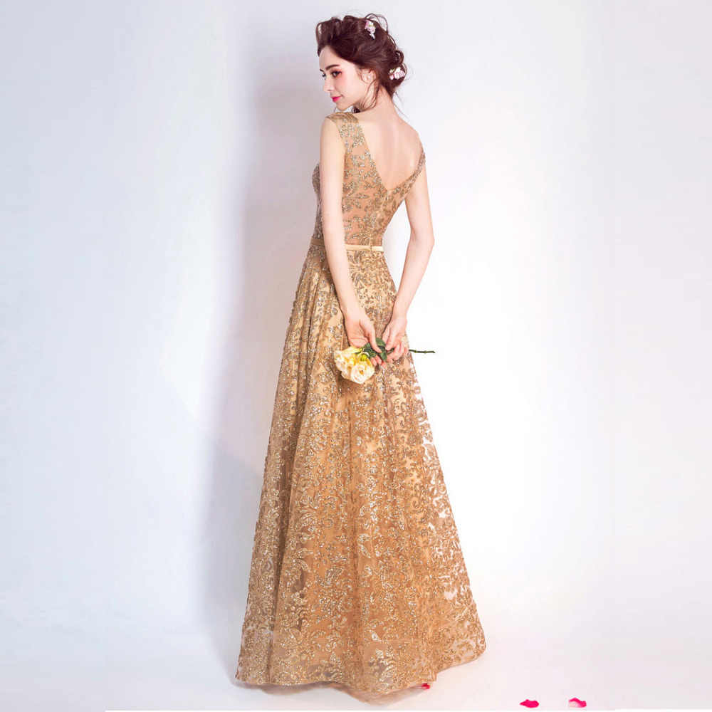 1fa6e55dabfcd Tulle sequined Muslim Gold Evening Dress Long Formal gown Prom Robe de  Soiree bling bling elegant sexy important occasion dress