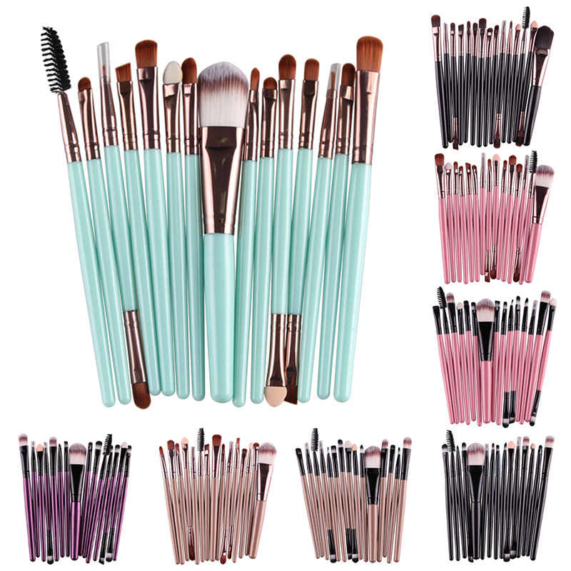 Baru Wanita Fashion Brushes 15 PC Kayu Foundation Kosmetik Alis Eyeshadow Brush Makeup Brush Set Alat Pincel Maquiagem