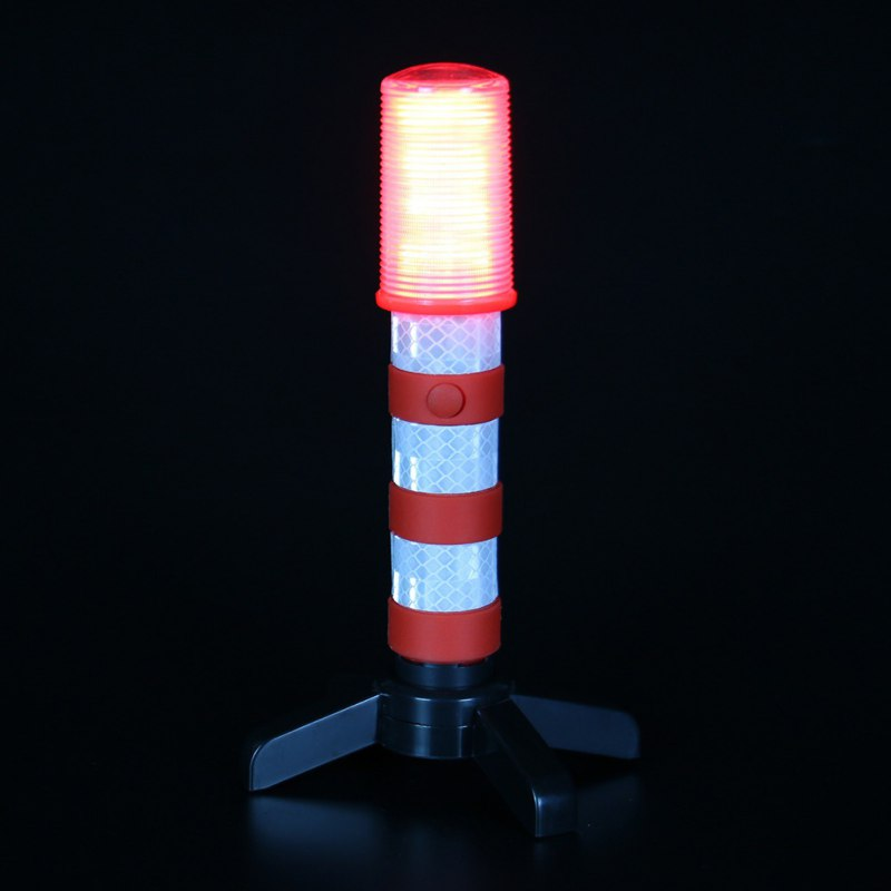 Red LED Emergency Roadside Flares - Magnetic Base and Upright Stand - these Magnatek Red LED Beacons May Save Your Life 1pcs rechargeable flashing warning lights led road flares red safety flashlight beacons roadside emergency disc beacon