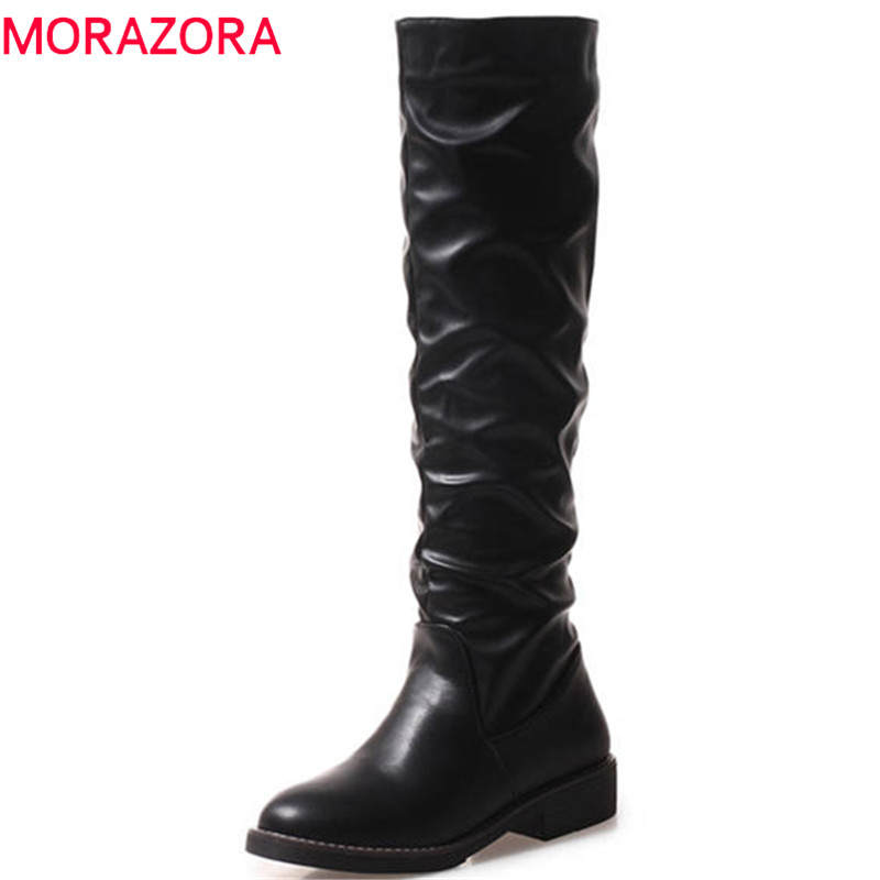 MORAZORA 2018 big size 34-43 knee high boots top quality pu slip on autumn boots solid color round toe comfortable casual shoes MORAZORA 2018 big size 34-43 knee high boots top quality pu slip on autumn boots solid color round toe comfortable casual shoes