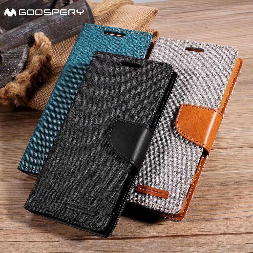 MERCURY GOOSPERY for iPhone 7 7 Plus 8 8 Plus X Case Canvas Diary Leather Phone Case Cover for Apple iPhone 6 6s Plus Coque Capa