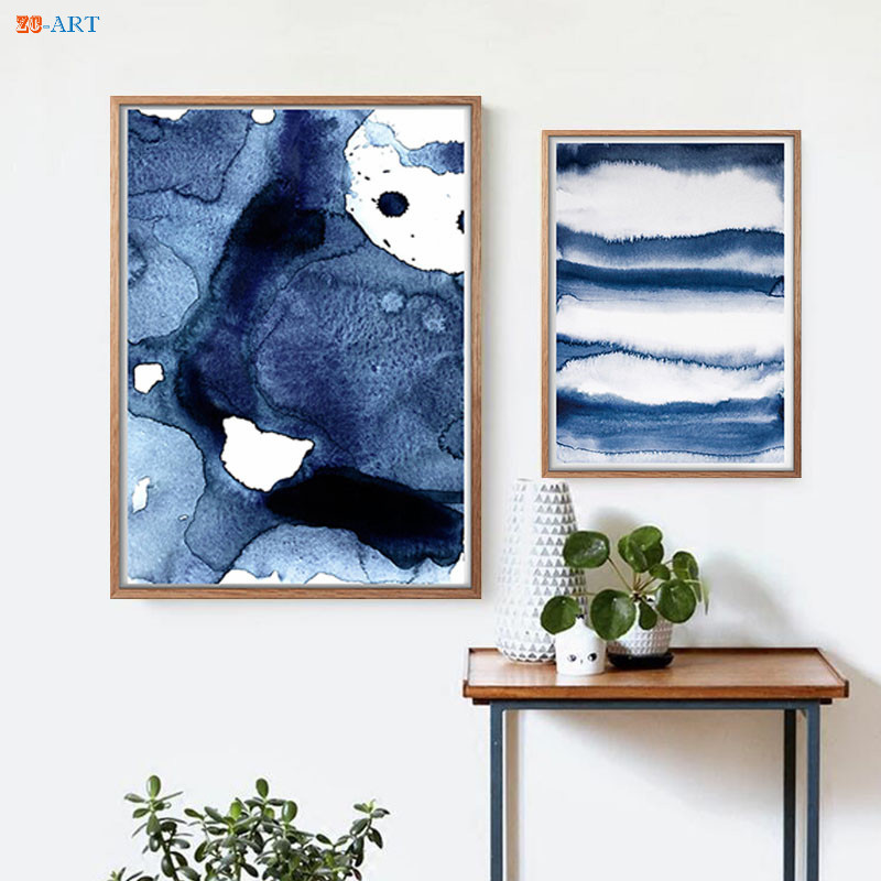 Navy Blue Wall Art Watercolor Abstract Painting Canvas Print Poster Wall Pictures For Living Room Home Decoration No Frame