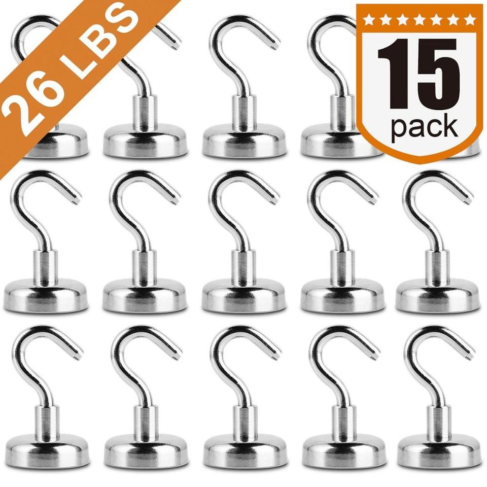 Office and Garage 26 LBS Upgrade Magnetic Hooks(12 Pack) Premium Strong Neodymium Magnets Hook D20 Rare Earth Magnet Hook Heavy Duty Magnets for Cruise Cabins,Kitchen Workplace