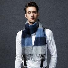Wool Scarf Men Soft Warm Fashion Black Gray Camel Plaid scarves Natural Fabric High Quality 6-20days Free Shipping