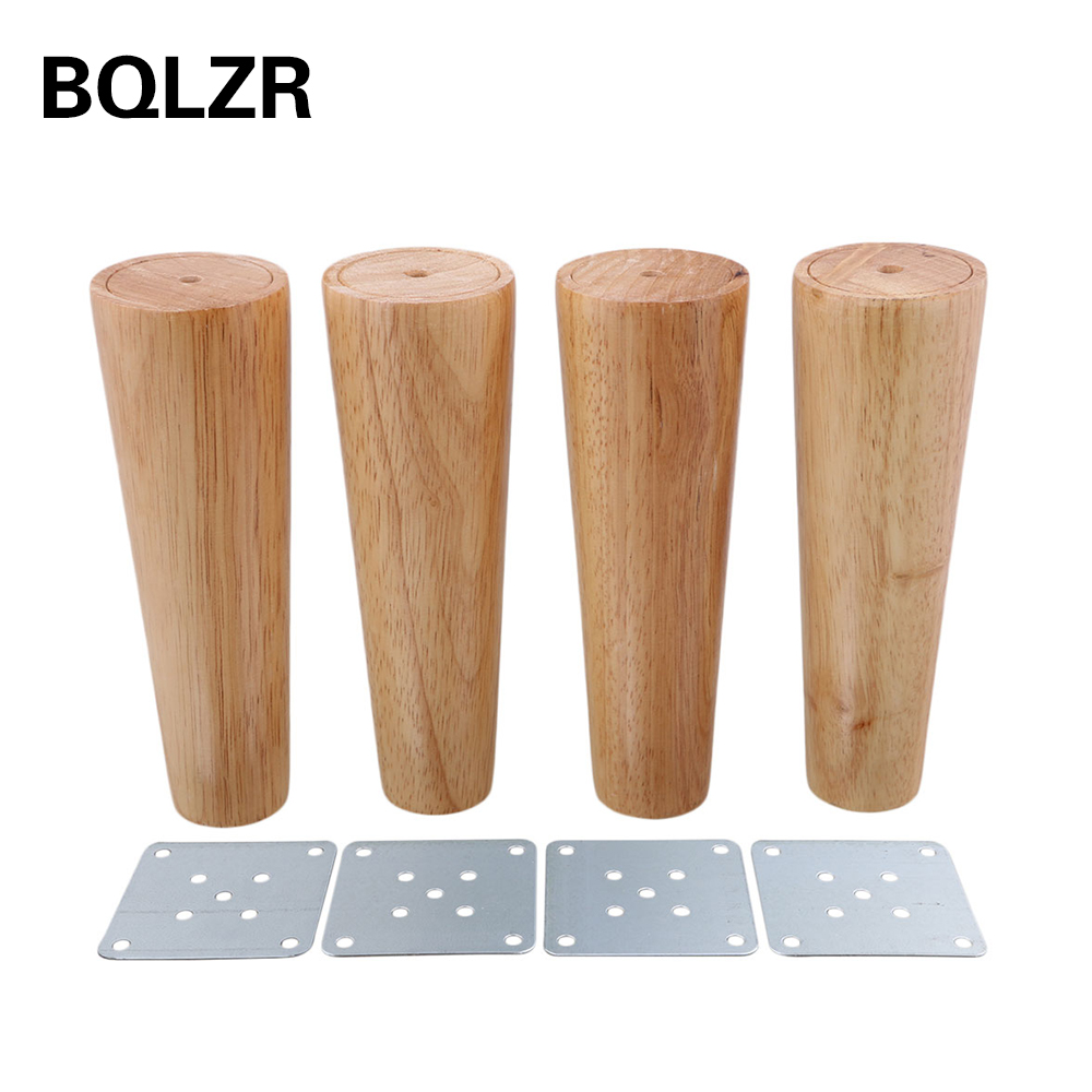BQLZR 180x58x38mm Cone Wooden Material Sofa Chair Bed Cupboard Tea Table TV Cabinet Wooden Furniture Replacement Legs Pack of 4 bqlzr 150x63mm square shape silver black adjustable stainless steel plastic furniture legs sofa bed cupboard cabinet table bench