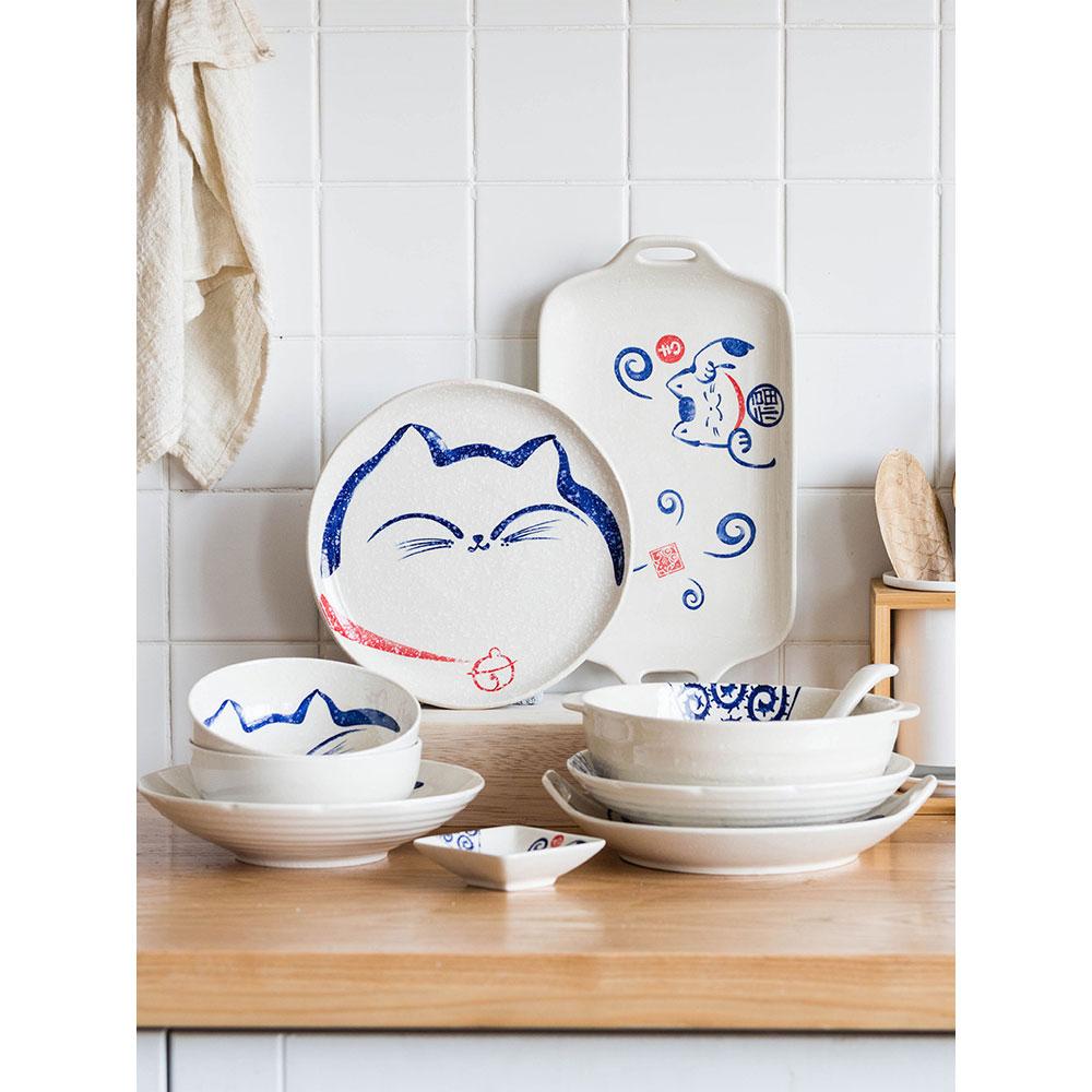 Cartoon katze unter glasiert abendessen platten keramik home küche besteck reis schüssel gerichte und platten sets runde nette lebensmittel container