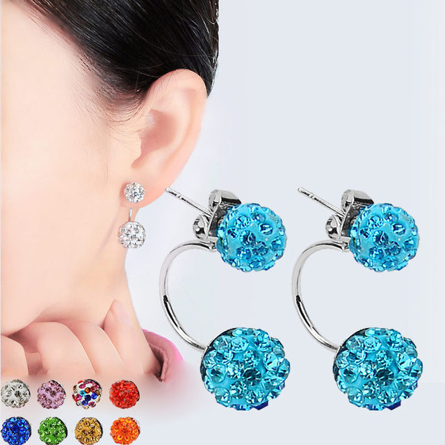 New Double Side Earrings Fashion Crystal Disco Ball Shamballa Stud For Women Stainless Steel Bottom