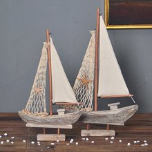 American Mediterranean Style Wooden Sailing Ship Model Antique Imitation Boat Nautical Home Decoration Crafts
