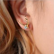 Promotion Dainty Luxury Elk Rhinestone Stud Earrings Women Brincos Earrings Bijoux Jewelry Christmas Gift E5174(China)