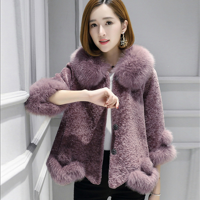 Fox Fur Collar 100% Wool Jacket Autumn Winter Coat Women Clothes 2019 Real Fur Coat Streetwear Korean Vintage Sheep Shealring
