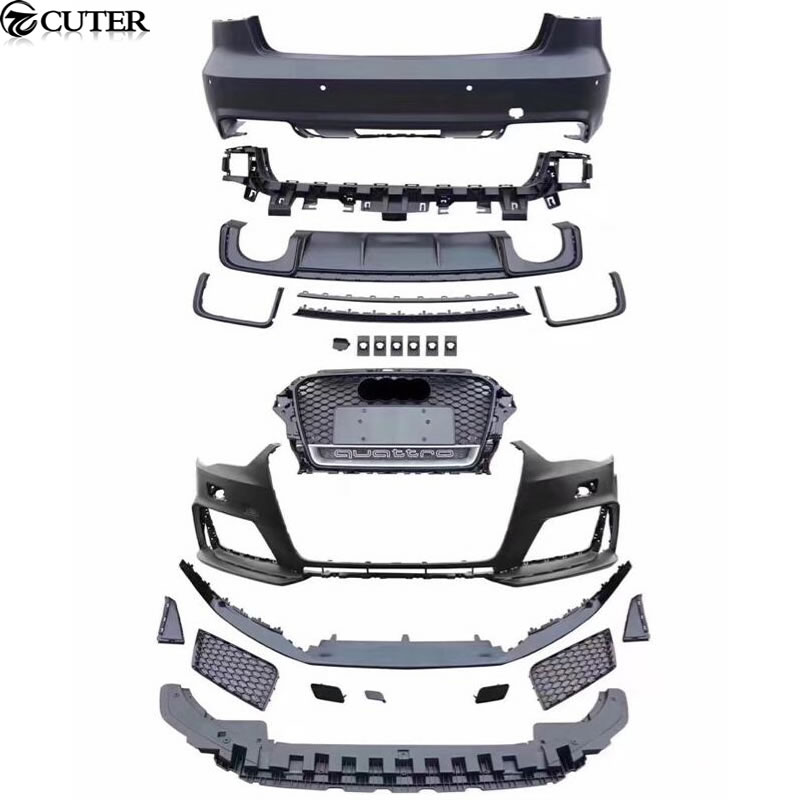 A3 RS3 style Car body kit PP front bumper front grill grille rear bumper rear diffuser side skirts for Audi A3 RS3 14-16