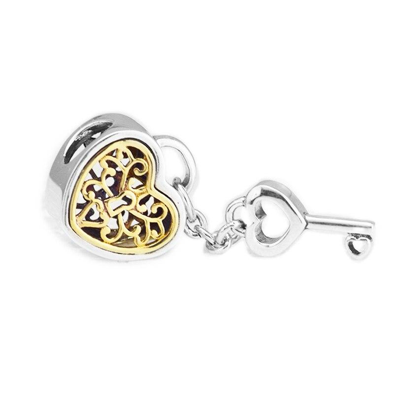 Convient pandora Bracelet 100% réel 925 sterling bijoux en argent Serrure à Clé de Coeur D'amour Openwor Charmes perles DIY faire la Livraison gratuite