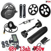 48V 750W BBS02B bafang mid drive electric motor kit + 48V 750W battery 48V 13AH use samsung cell electric bike battery
