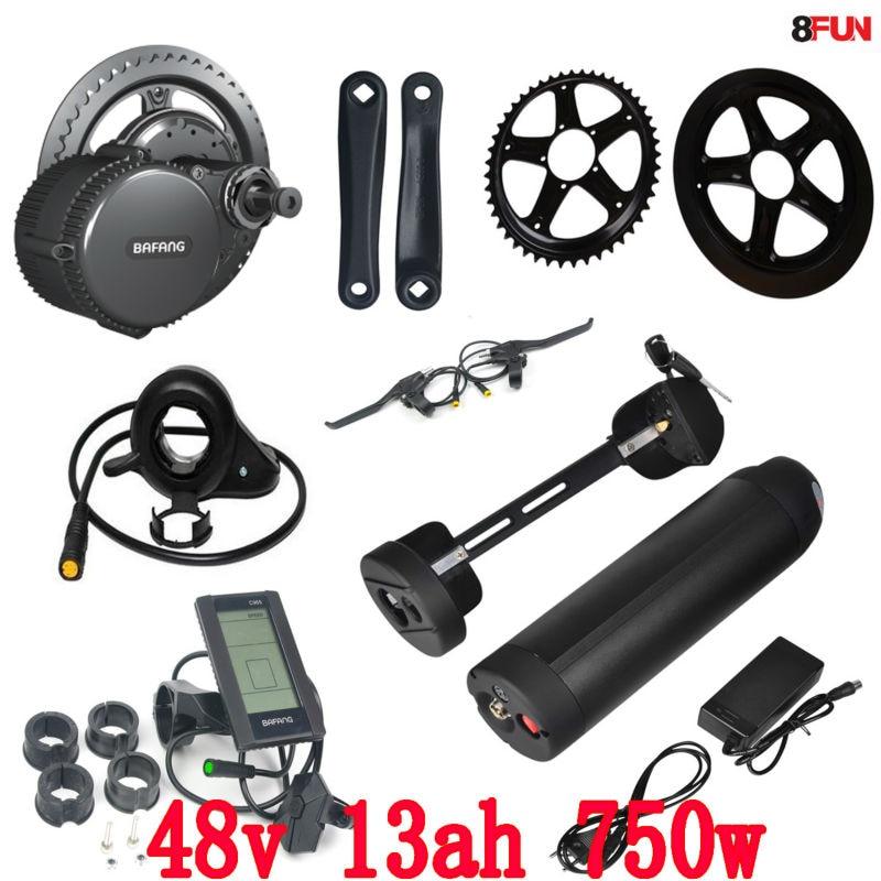 48V 750W BBS02B bafang mid drive electric motor kit 48V 750W battery 48V 13AH use samsung