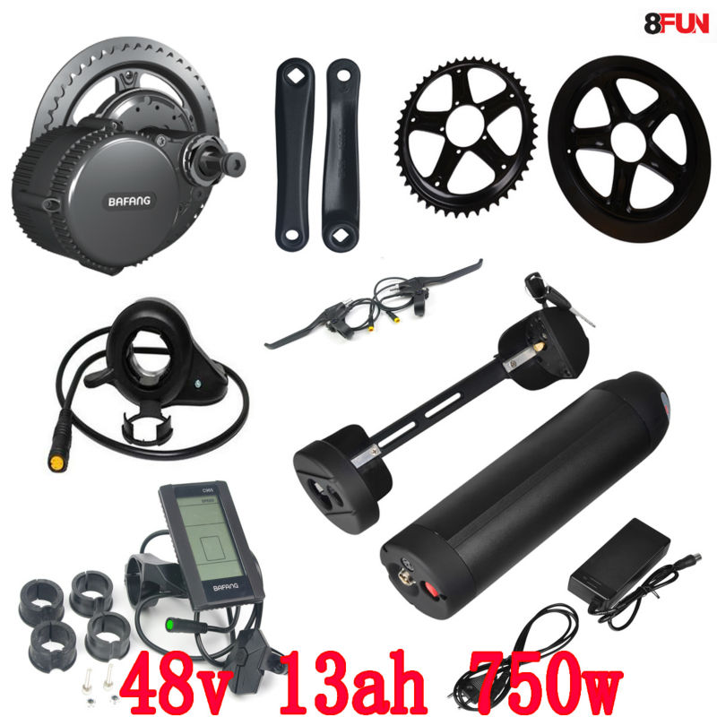BBS02 Bafang 48V 750W mid drive electric motor kit with 48V 13Ah Li-ion Water bottle ebike battery free customs tax 48v 13ah bottle lithium battery electronic bicycle battery with fit bbs02 750w bafang motor