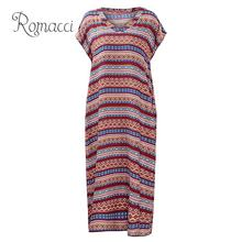 купить Vintage Summer Dress 2019 Women Casual Loose Boho Dress Classical Print Short Sleeves Oversized Tunics Robe Plus Size Dress по цене 610.28 рублей
