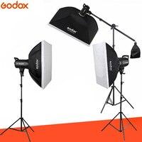 Фотостудия 3 шт. x Godox SL-60W CRI 95 + светодиодный свет комплект SL60W 5600 к 60x90 см софтбоксы 2,8 м стенд пульт дистанционного управления