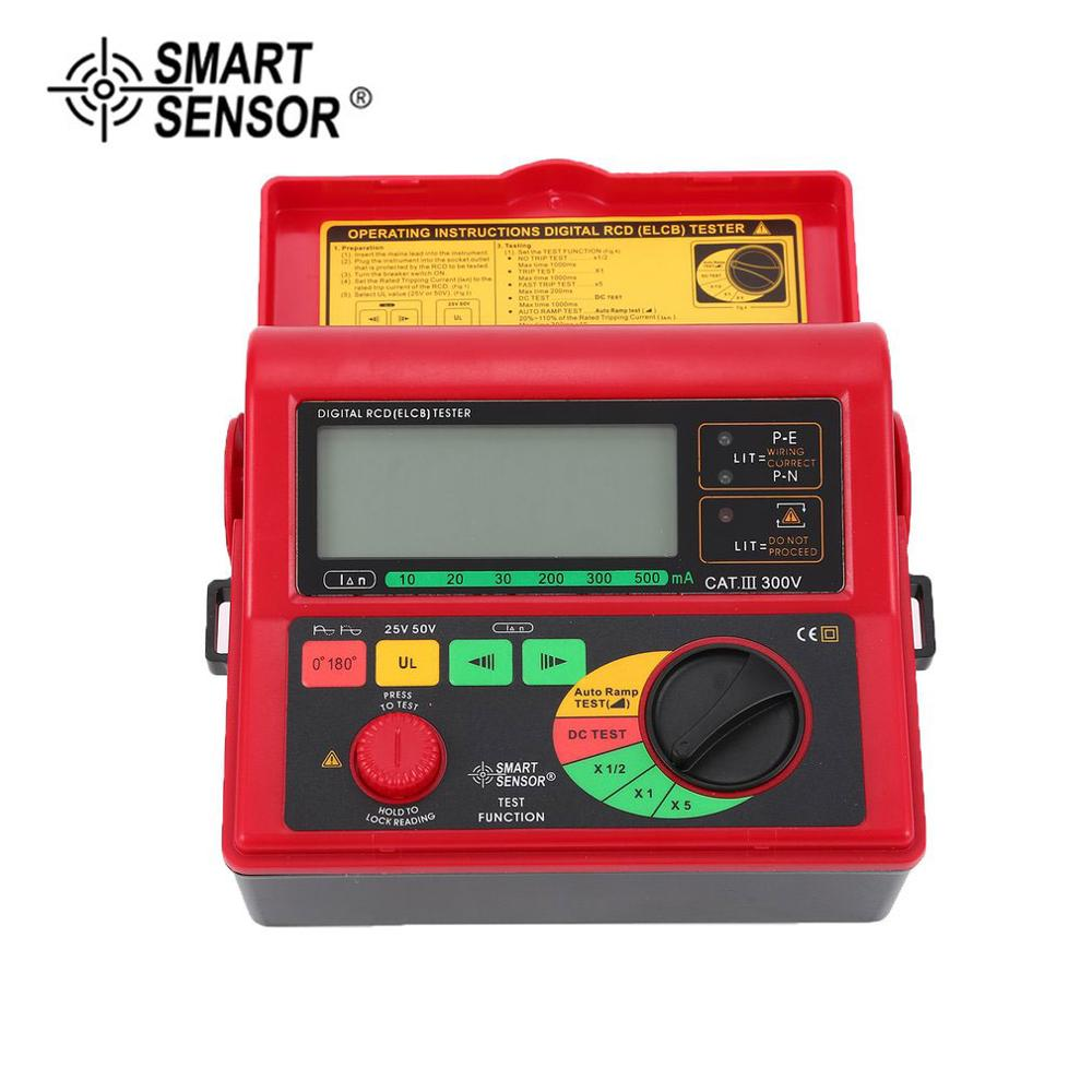 SMART SENSOR AR5406 Digital RCD ELCB Resistance Tester Leakage Switch Tester Leakage Current Test 10 20 30 200 300 500mA in Resistance Meters from Tools
