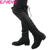 ESVEVA 2018 Square Heel Woman Stretch Fabric Over The Knee Boots Short Plush Women Shoes Winter