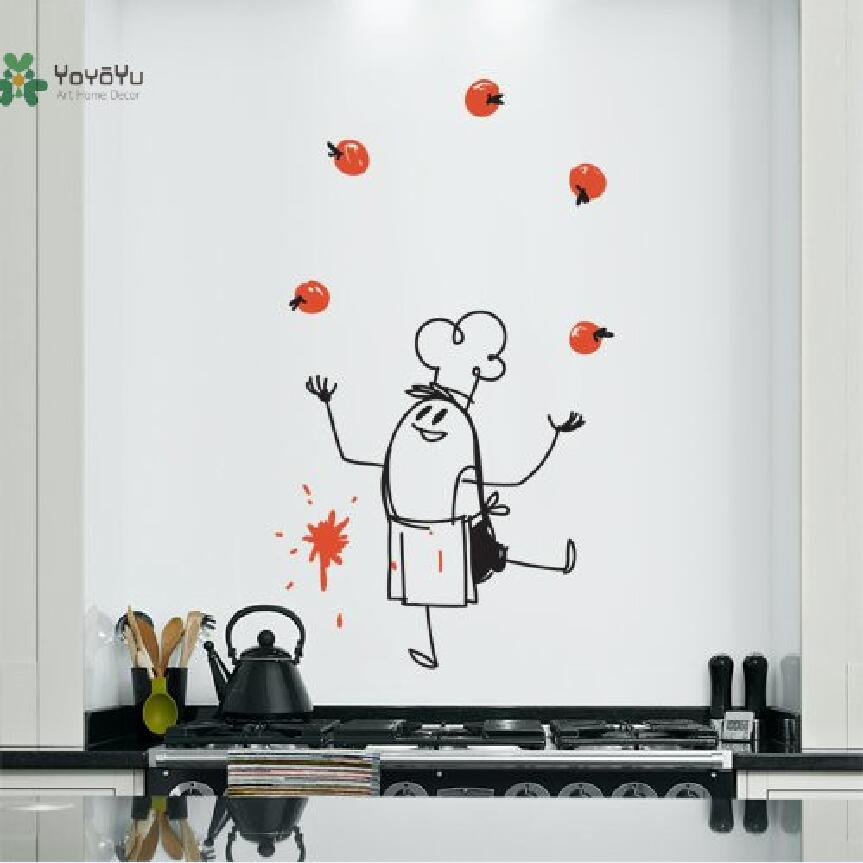 Wall Decal Vinyl Sticker Chef Wally Wall Art Creative Decoration Custom Color Kitchen Dining Room Decor DIY Design Mural WW-357