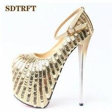 SDTRFT Crossdresser Bling Sequins 20cm thin heels sexy club Buckle pumps  wedding shoes Woman Platforms Stilettos 8d72bfa40216