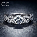 Hot Sale White Gold Plated Wedding Party Rings for Women Brilliant CZ Diamond Engagement Sapphire Jewelry Bijoux Anel Best Gifts