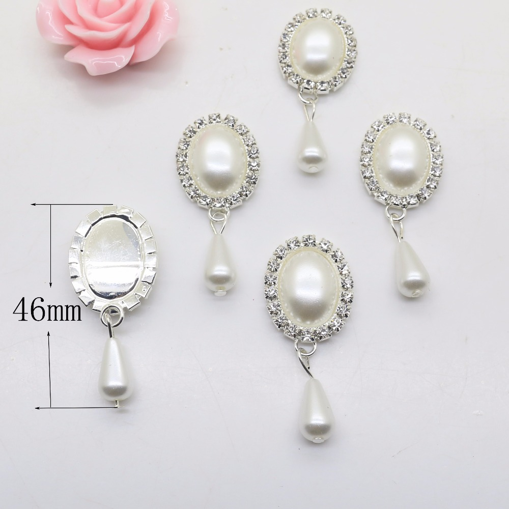New Fashion10Pcs/lot 20*46mm Oval Pendant Diy Jewelry Findings Rhinestone White Pearl Accessories Caps Decoration For Making