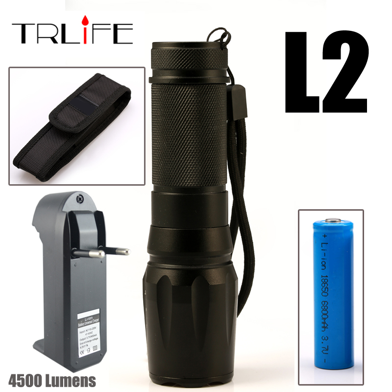 4500Lm Flashlight LED CREE XM-L2 Powerful Tactical Flashlight Zoomable Torch Lantern +18650 Battery+ Charger cree xm l2 flashlight 5000lm adjustable zoomable led xm l2 flashlight lamp light torch lantern rechargeable 18650 2chargers z30