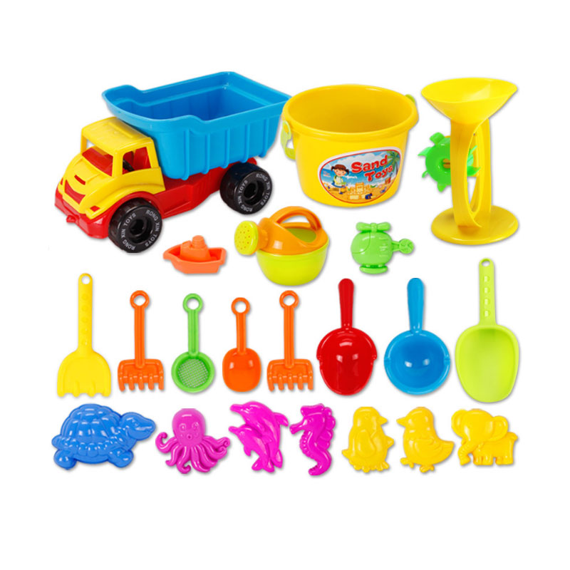 YunNasi 21 pièces sable plage jouets pour garçons arrosoir seau pelle pelle dauphin éléphant poulpe Dune outil salle de bain jouets été (lot de 21)