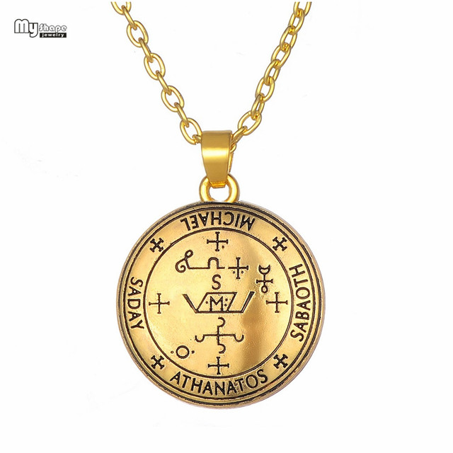 33ab988145f My Shape Collares Seal of Archangel Michael Enochian Statement Necklace Men  Talisman Amulet Angel Tibetan Necklaces for Women