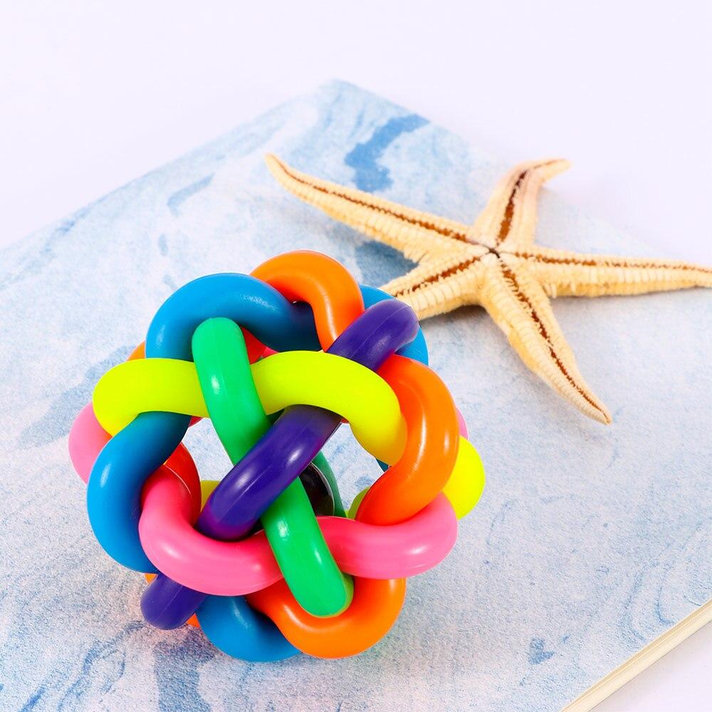 1 Pcs Hond Kat Sound Ball Rainbow Kleurrijke Rubber Plastic Spelen Speelgoed Hond Chew Knot Ball Geweven Gevlochten Bouncy Rubber Speelgoed