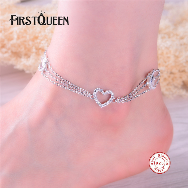 FirstQueen 100 Sterling Silver 925 font b Anklet b font High Quality AAA Cubic Zirconia Best