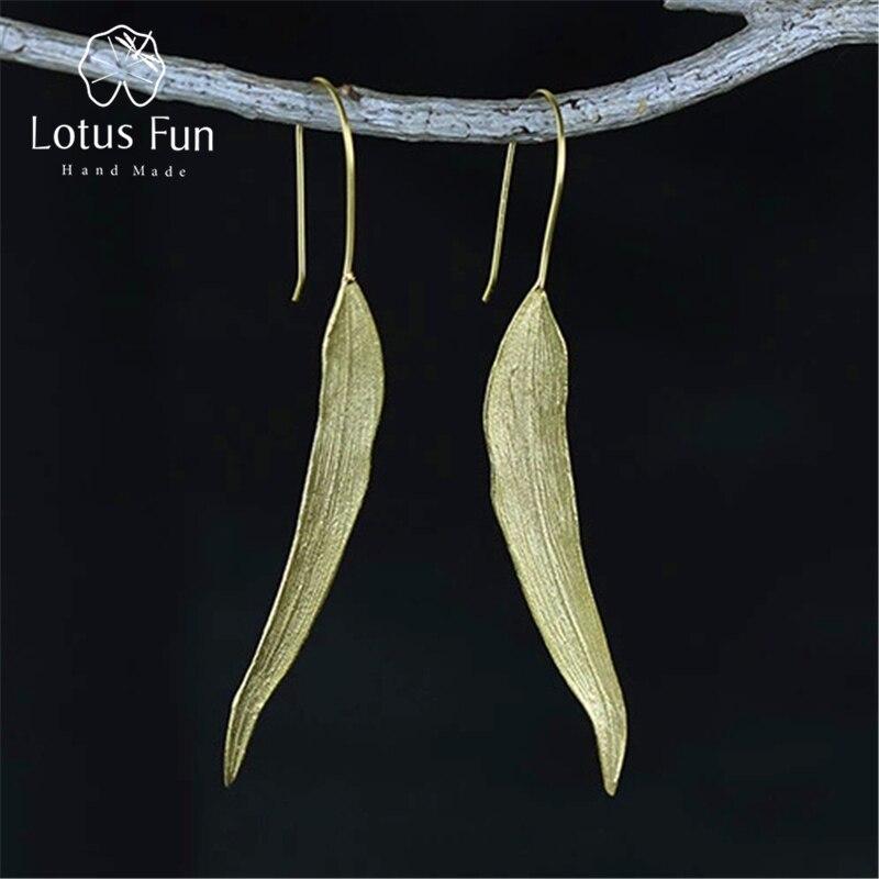 Lotus Fun реальные 925 Серебро Природный оригинальный ручной Ювелирные украшения Винтаж длинные листья Висячие серьги для Для женщин brincos