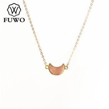 FUWO tallado en forma de media luna Seashell Colgante con cadena de latón relleno de oro Abalone/Blanco/Negro/Rosa Shell collar joyería de NC517