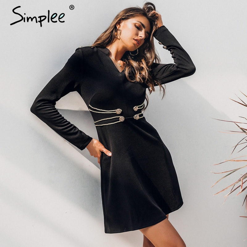 Simplee Сексуальное Женское облегающее летнее платье с длинными рукавами и пуговицами мини-Клубное платье vestidos элегантное черное вечернее пла...