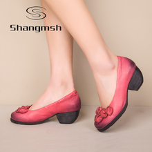 Shangmsh Flower Genuine Leather women pumps heels wedges shoes for women Female Chinese Brand Soft  Autumn Handmade office Shoes