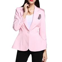 High Quality ! Woman Blazers 2016 Spring Autumn New Fashion Long Sleeve Single Button Embroidery Badge Slim Women Jacket Blazer