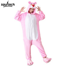 Pink Leopard Kigurumi Onesie Women Adult Animal Pajama Cartoon Panther Kitty Funny Sleepwear Pijama Winter Warm