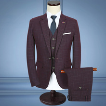 2017 checked suit men's clothing To marry the groom dress deep wine red wash and wear a three-piece suit